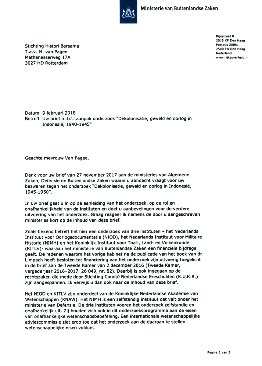 Dutch government replies open letter histori bersama reply of the dutch government to the open letter thank you expocarfo Choice Image